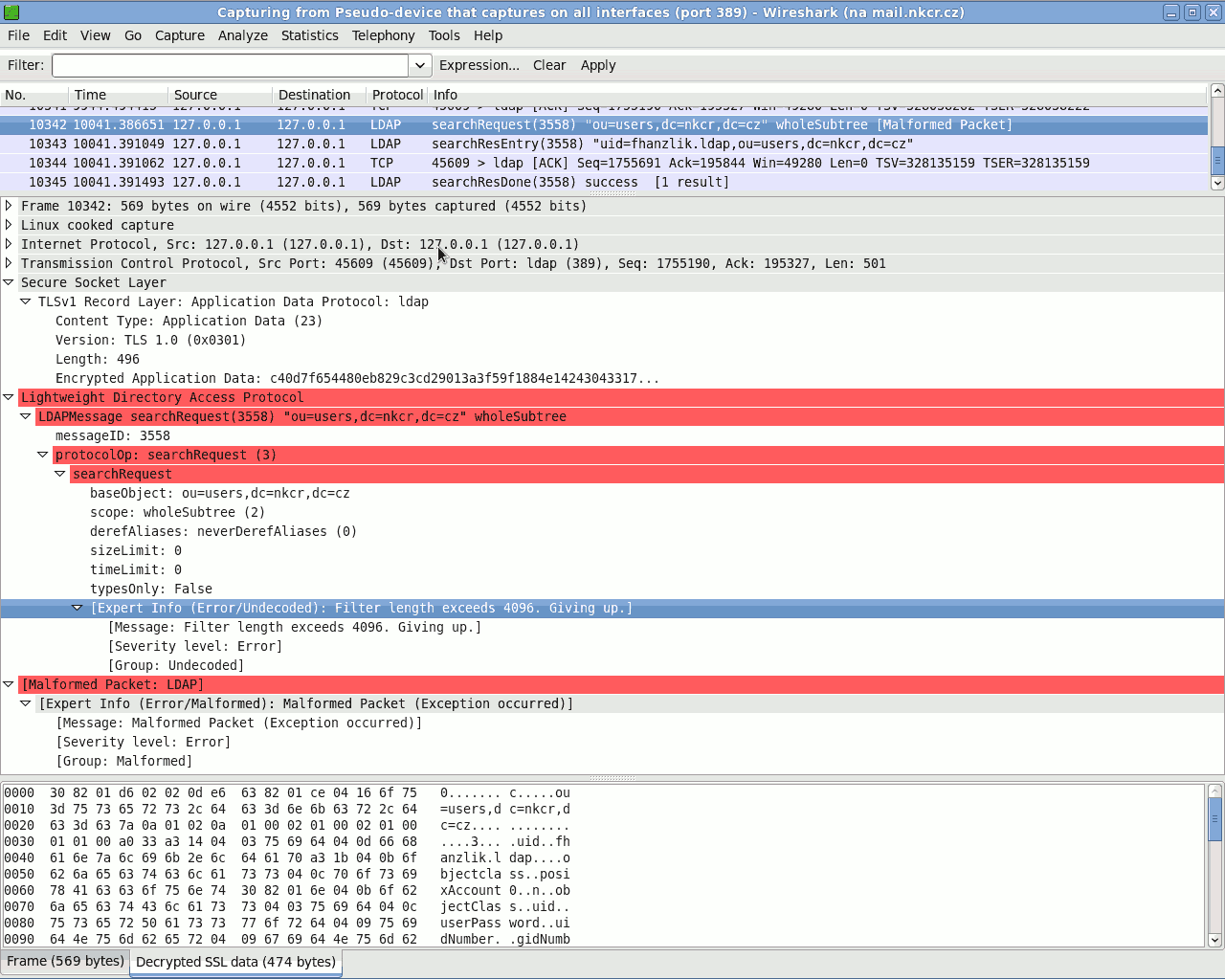 Wireshark: SSL LDAP dialog - bad request interpretation?
