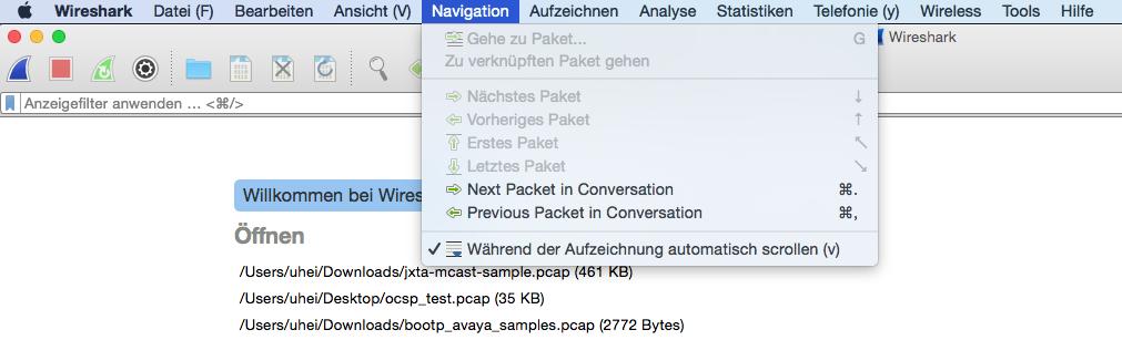 Wireshark: QT-GUI Mac: DE Translation: Keyboard shortcuts